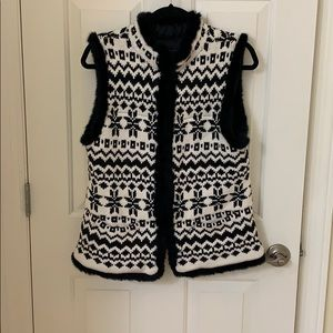 Talbots fair isles quilted fur trimmed vest